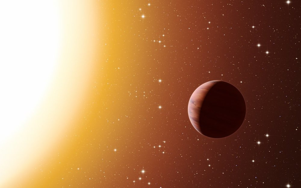 This artist's impression shows a hot Jupiter planet orbiting close to one of the stars in the rich old star cluster Messier 67, in the constellation of Cancer (The Crab). Astronomers have found far more planets like this in the cluster than expected. This surprise result was obtained using a number of telescopes and instruments, among them the HARPS spectrograph at ESO's La Silla Observatory in Chile. The denser environment in a cluster will cause more frequent interactions between planets and nearby stars, which may explain the excess of hot Jupiters. – Image Credit: ESO/L. Calçada