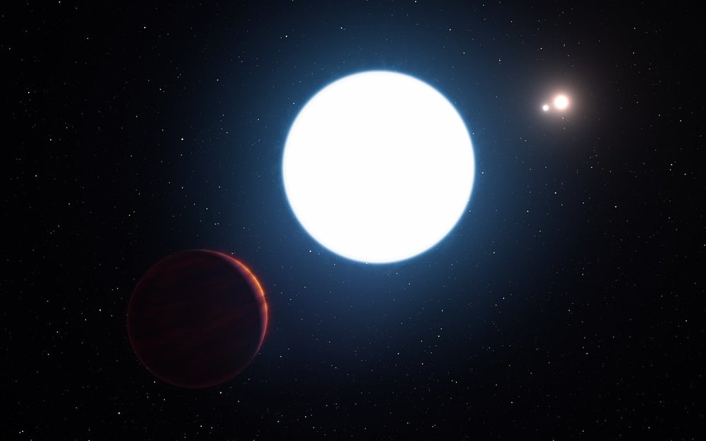 This artist's impression shows a view of the triple star system HD 131399 from close to the giant planet orbiting in the system. The planet is known as HD 131399Ab and appears at the lower-left of the picture. – Image Credit:   ESO/L. Calçada
