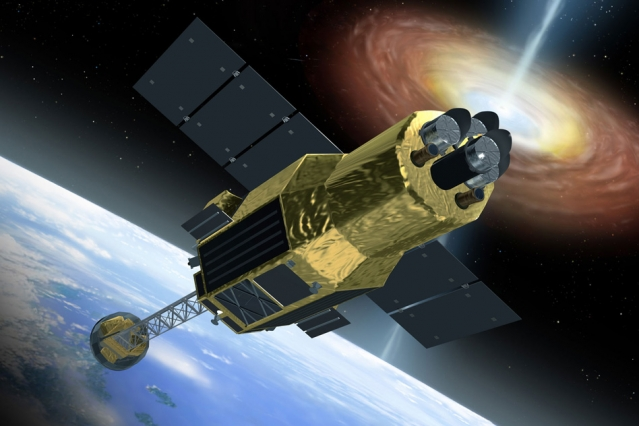 An artist's rendition of Hitomi spacecraft in space. – Image Credit: JAXA