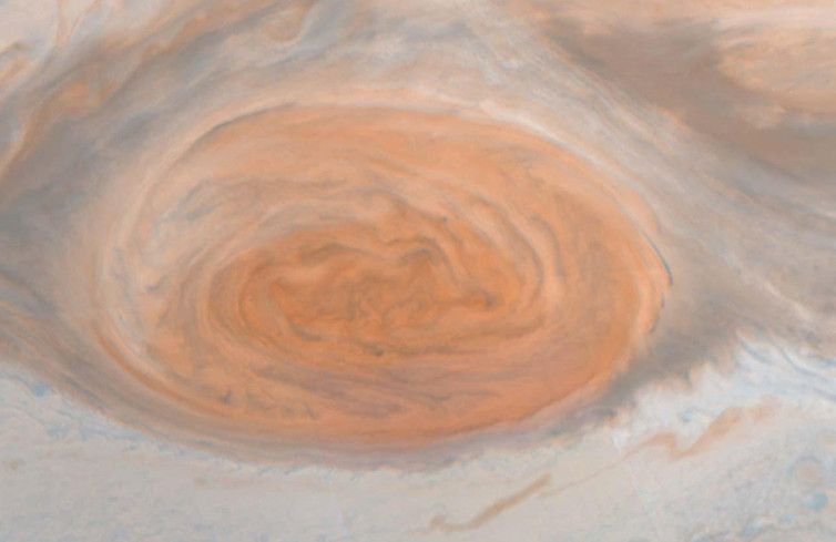 Jupiter's Great Red Spot in natural colour, by NASA's Galileo orbiter - Image Credit:  NASA/JPL/Cornell University