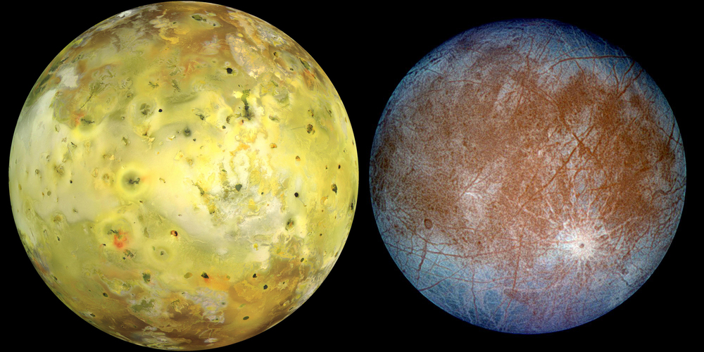 Left: Io in natural colour. Right: Europa, in exaggerated false colour to accentuate the difference between 'clean' ice (blue) and 'dirty' ice (red). – Image Credit:  NASA/JPL/University of Arizona/DLR