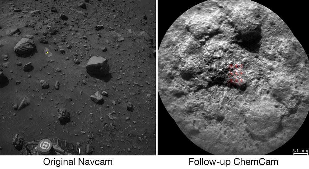 NASA's Curiosity Mars rover autonomously selects some targets for the laser and telescopic camera of its ChemCam instrument. For example, on-board software analyzed the Navcam image at left, chose the target indicated with a yellow dot, and pointed ChemCam for laser shots and the image at right. – Image Credits: NASA/JPL-Caltech/LANL/CNES/IRAP/LPGNantes/CNRS/IAS