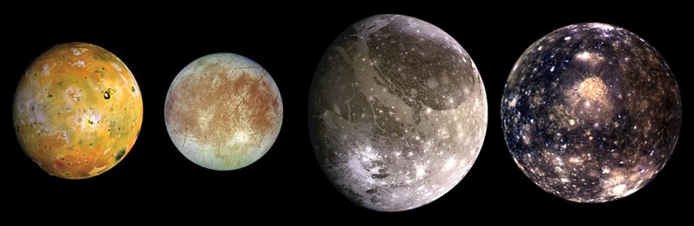 The Galilean moons of Jupiter: Io, Europa, Ganymede and Callisto. - Image Credit: NASA