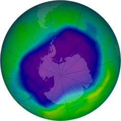 The ozone hole over Antarctica in September 2006. - Image Credit: NASA