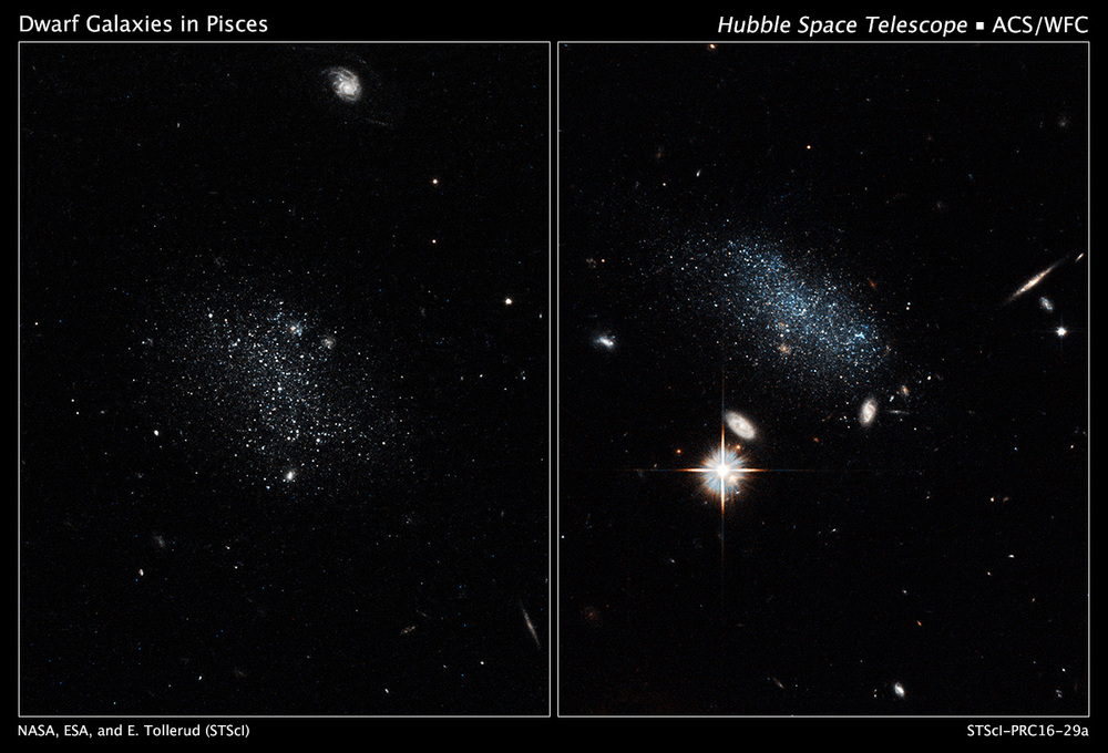 NASA's Hubble Space Telescope has captured the glow of new stars in these small, ancient galaxies, called Pisces A and Pisces B. The dwarf galaxies have lived in isolation for billions of years and are just now beginning to make stars. – Image Credits: NASA, ESA, and E. Tollerud (STScI)