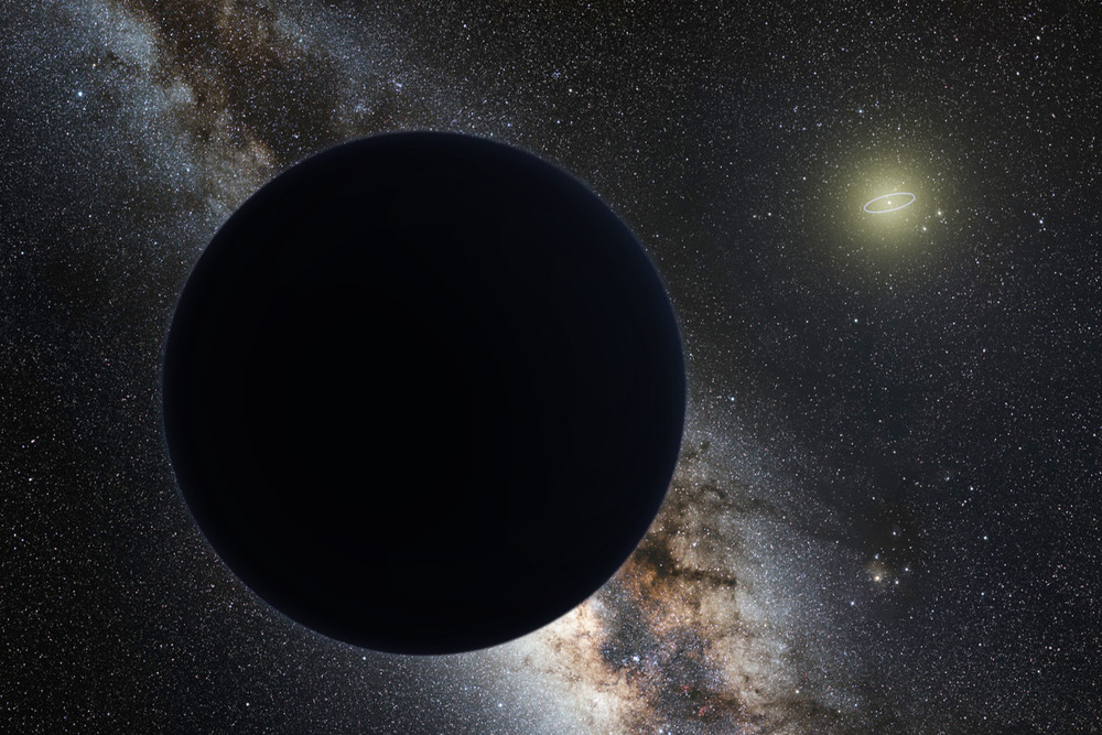 Artist's impression of Planet Nine as an ice giant eclipsing the central Milky Way, with a star-like Sun in the distance. Neptune's orbit is shown as a small ellipse around the Sun. - Image Credit: ESO/Tomruen/nagualdesign