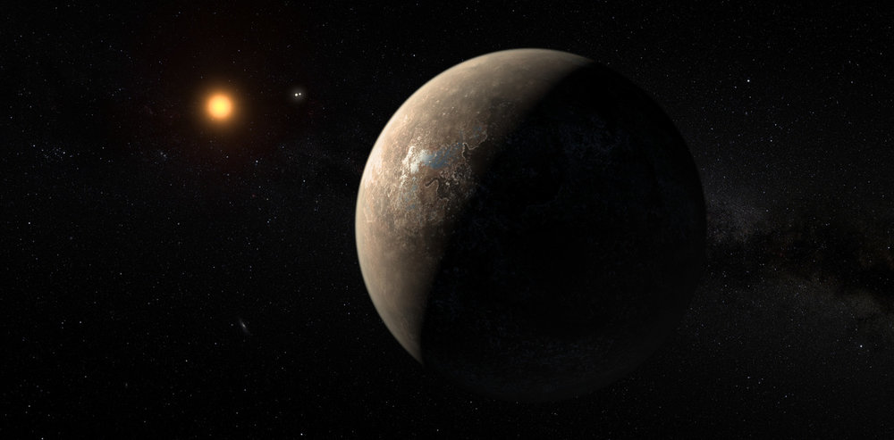 An artist's impression shows the planet Proxima b orbiting the red dwarf star Proxima Centauri, the closest star to our solar system. - Image Credit: ESO/M. Kornmesser