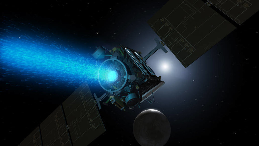 An artist's illustration of NASA's Dawn spacecraft approaching Ceres. Image Credit: NASA/JPL-Caltech.