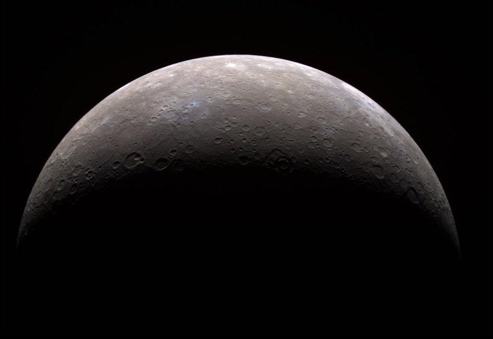 Planet Mercury as seen from the MESSENGER spacecraft in 2008. - Image Credit: NASA/JPL