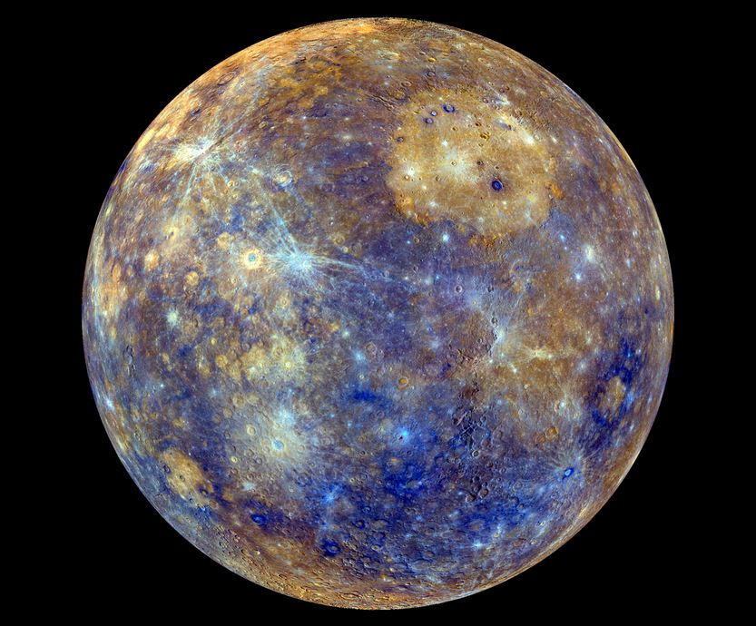 The different colors in this MESSENGER image of Mercury indicate the planet's chemical, mineralogical, and physical differences. – Image Credit: NASA/Johns Hopkins University Applied Physics Laboratory/Carnegie Institution of Washington.