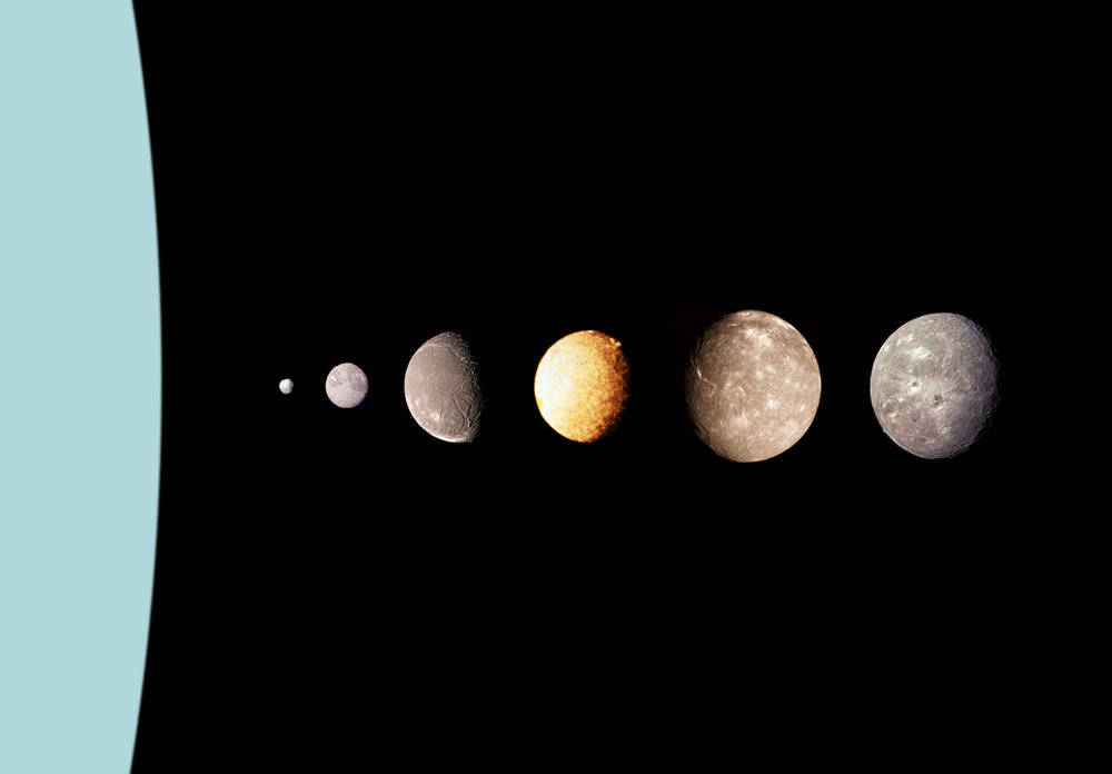 A montage of Uranus's moons (from left to right) – Ariel,  Image Credit: NASA