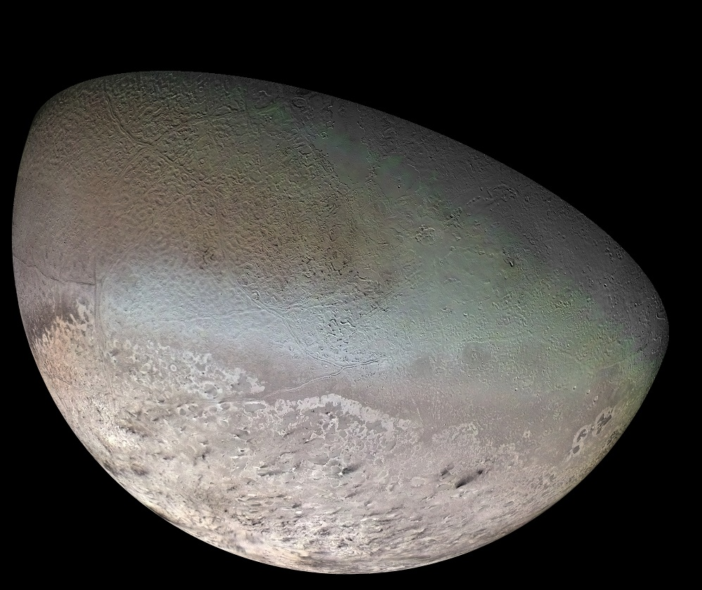 Global Color Mosaic of Triton, taken by Voyager 2 in 1989. - Image Credit: NASA/JPL/USGS