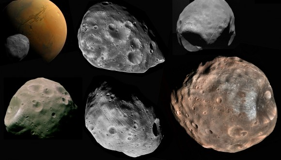 "Mosaic of space images showing the many ""faces"" of Mars inner moon, Phobos. - Image Credit: NASA"