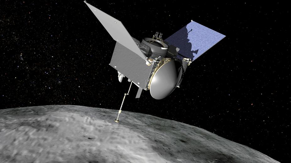Artist's conception of the OSIRIS-REx spacecraft at Bennu asteroid. – Image Credit: NASA/GSFC