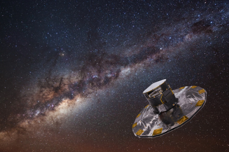 Artist's impression of the Gaia spacecraft. - Image Credit: ESA/ATG medialab; background image: ESO/S. Brunier