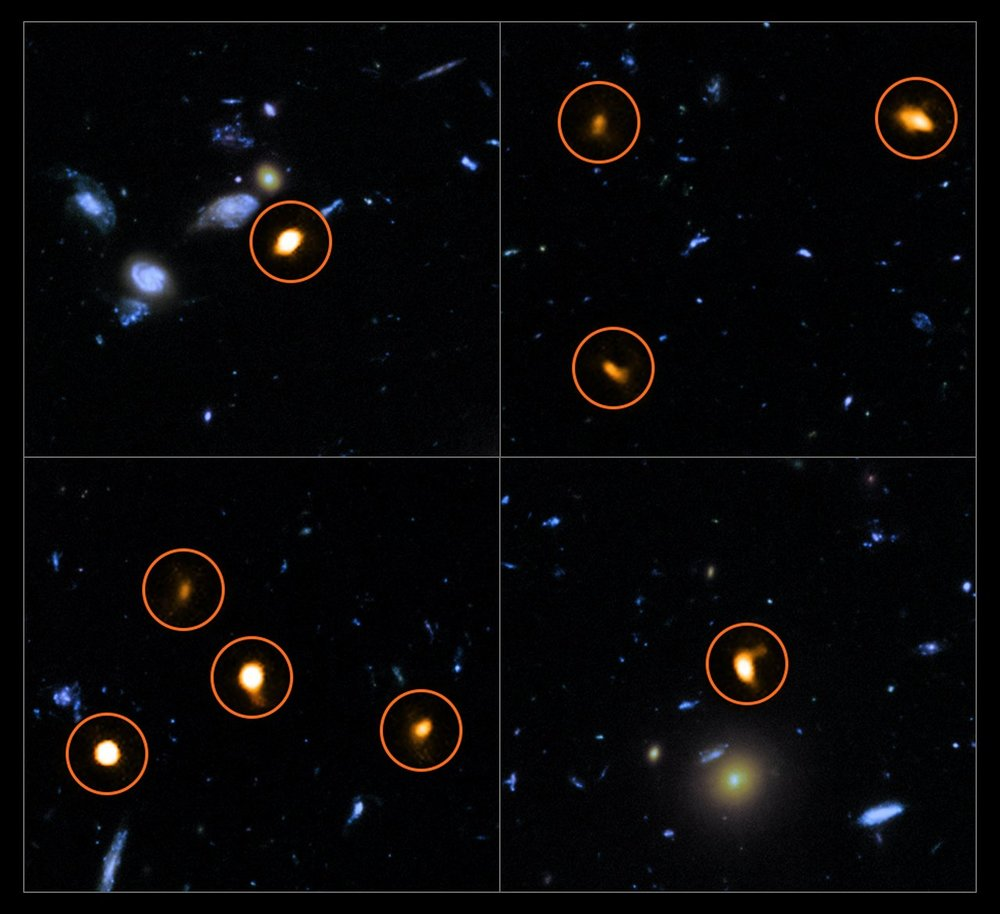 These cutout images are from a combination of a background picture taken by the NASA/ESA Hubble Space Telescope (blue/green) with a new very deep ALMA view of the field (orange, marked with circles). All the objects that ALMA sees appear to be massive star-forming galaxies. – Image Credit:   ALMA (ESO/NAOJ/NRAO)/NASA/ESA/J. Dunlop et al. and S. Beckwith (   STScI   ) and the HUDF Team.