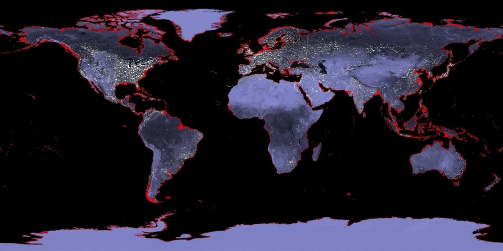 Six meters of sea level rise would cover the coastal areas marked in red.  NASA ,  CC BY