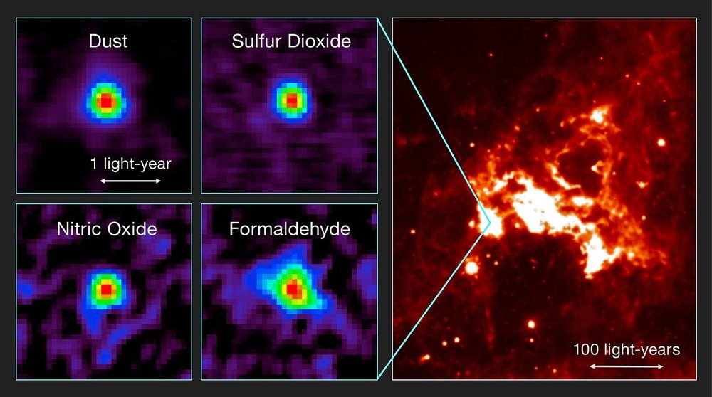 This figure shows observations of the first hot core to be found outside the Milky Way with ALMA and a view of the region of sky in infrared light. Left: Distributions of molecular line emission from a hot molecular core in the Large Magellanic Cloud observed with ALMA. Emissions from dust, sulfur dioxide (SO2), nitric oxide (NO), and formaldehyde (H2CO) are shown as examples. Right: An infrared image of the surrounding star-forming region (based on data from the NASA/Spitzer Space Telescope). – Imahe Credit: T. Shimonishi/Tohoku University, ALMA (ESO/NAOJ/NRAO)