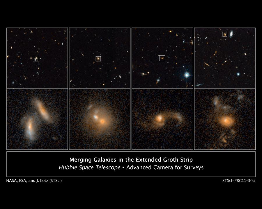 Images from Hubble's ACS in 2004 and 2005 show four examples of interacting galaxies (at various stages in the process) far away from Earth. Credit: NASA/ESA/J. Lotz, STScI/M. Davis, University of California, Berkeley/A. Koekemoer, STScI