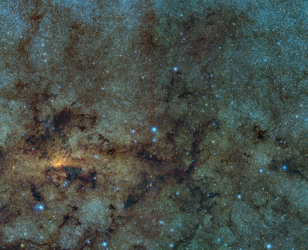 This image, captured with the    VISTA infrared survey telescope   , as part of the    Variables in the Via Lactea (VVV)    ESO public survey, shows the central part of the Milky Way. While normally hidden behind obscuring dust, the infrared capabilities of VISTA allow to study the stars close to the galactic centre   – Image Credit:   ESO/VVV Survey/D. Minniti