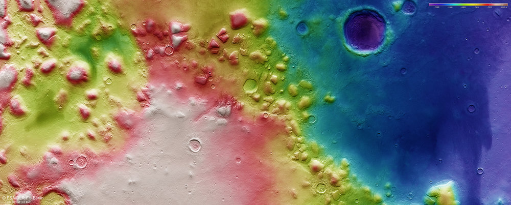 Colour-coded topographic view of the Colles Nili region, showing the relative heights and depths of terrain. - Image Credit: ESA/DLR/FU Berlin