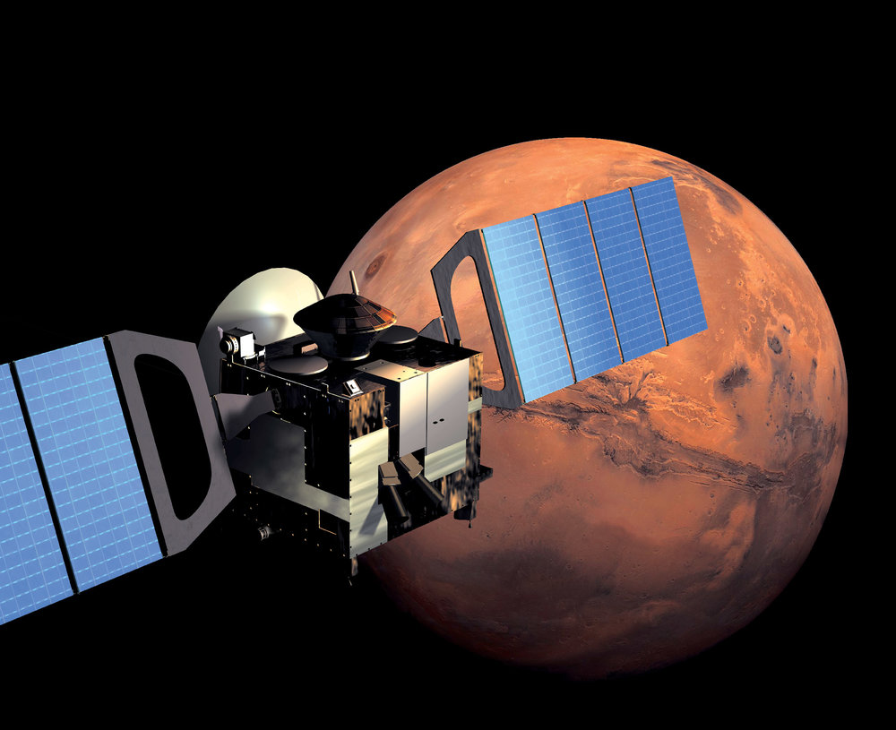 Artist's impression of the Mars Express spacecraft in orbit - Image Credit: ESA/Medialab