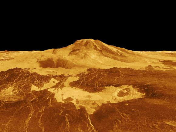 3-D perspective of the Venusian volcano, Maat Mons generated from radar data from NASA's Magellan mission. - Image Credit: NASA/JPL
