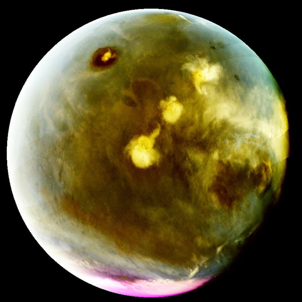 MAVEN's Imaging UltraViolet Spectrograph obtained images of rapid cloud formation on Mars on July 9-10, 2016. The ultraviolet colors of the planet have been rendered in false color, to show what we would see with ultraviolet-sensitive eyes. Mars' tallest volcano, Olympus Mons, appears as a prominent dark region near the top of the image, with a small white cloud at the summit that grows during the day. Three more volcanoes appear in a diagonal row, with their cloud cover (white areas near center) merging to span up to a thousand miles by the end of the day. – Image Credits: NASA/MAVEN/University of Colorado