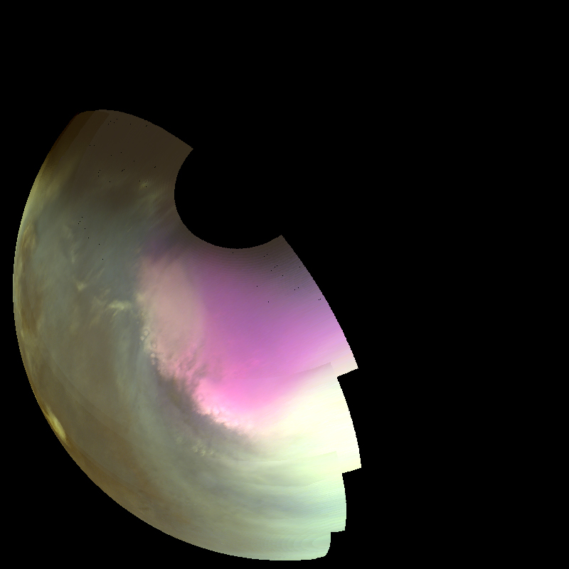 This ultraviolet image near Mars' South Pole was taken by MAVEN on July 10 2016 and shows the atmosphere and surface during southern spring. The ultraviolet colors of the planet have been rendered in false color, to show what we would see with ultraviolet-sensitive eyes. Darker regions show the planet's rocky surface and brighter regions are due to clouds, dust and haze. The white region centered on the pole is frozen carbon dioxide (dry ice) on the surface. Pockets of ice are left inside craters as the polar cap recedes in the spring, giving its edge a rough appearance. High concentrations of atmospheric ozone appear magenta in color, and the wavy edge of the enhanced ozone region highlights wind patterns around the pole. – Image Credits: NASA/MAVEN/University of Colorado