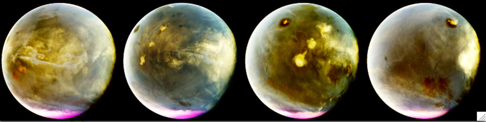 MAVEN's Imaging UltraViolet Spectrograph obtained these images of rapid cloud formation on Mars on July 9-10, 2016. The ultraviolet colors of the planet have been rendered in false color, to show what we would see with ultraviolet-sensitive eyes. The series interleaves MAVEN images to show about 7 hours of Mars rotation during this period, just over a quarter of Mars' day. The left part of the planet is in morning and the right side is in afternoon. Mars' prominent volcanoes, topped with white clouds, can be seen moving across the disk. Mars' tallest volcano, Olympus Mons, appears as a prominent dark region near the top of the images, with a small white cloud at the summit that grows during the day. Olympus Mons appears dark because the volcano rises up above much of the hazy atmosphere which makes the rest of the planet appear lighter. Three more volcanoes appear in a diagonal row, with their cloud cover merging to span up to a thousand miles by the end of the day. These images are particularly interesting because they show how rapidly and extensively the clouds topping the volcanoes form in the afternoon. Similar processes occur at Earth, with the flow of winds over mountains creating clouds. Afternoon cloud formation is a common occurrence in the American West, especially during the summer. Credits: NASA/MAVEN/University of Colorado