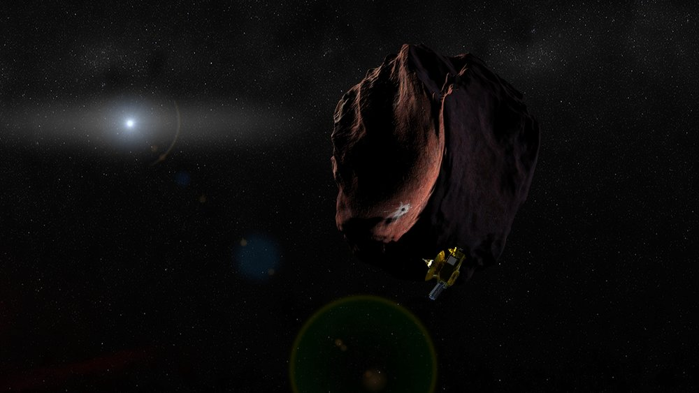 Artist's impression of NASA's New Horizons spacecraft encountering a Kuiper Belt object, as part of an extended mission after the spacecraft's July 2015 Pluto flyby. New Horizons is set to fly past 2014 MU69 – a KBO currently about a billion miles (1.6 billion kilometers) beyond Pluto – on Jan. 1, 2019. Recent data from the Hubble Space Telescope suggests 2014 MU69 has a reddish hue, even redder than Pluto. The object is the smallest KBO to have its surface properties measured. – Image Credits: NASA/JHUAPL/SwRI