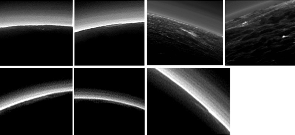 Partly Cloudy on Pluto? Pluto's present, hazy atmosphere is almost entirely free of clouds, though scientists from NASA's New Horizons mission have identified some cloud candidates after examining images taken by the New Horizons Long Range Reconnaissance Imager and Multispectral Visible Imaging Camera, during the spacecraft's July 2015 flight through the Pluto system. All are low-lying, isolated small features—no broad cloud decks or fields – and while none of the features can be confirmed with stereo imaging, scientists say they are suggestive of possible, rare condensation clouds. – Image Credits: NASA/JHUAPL/SwRI