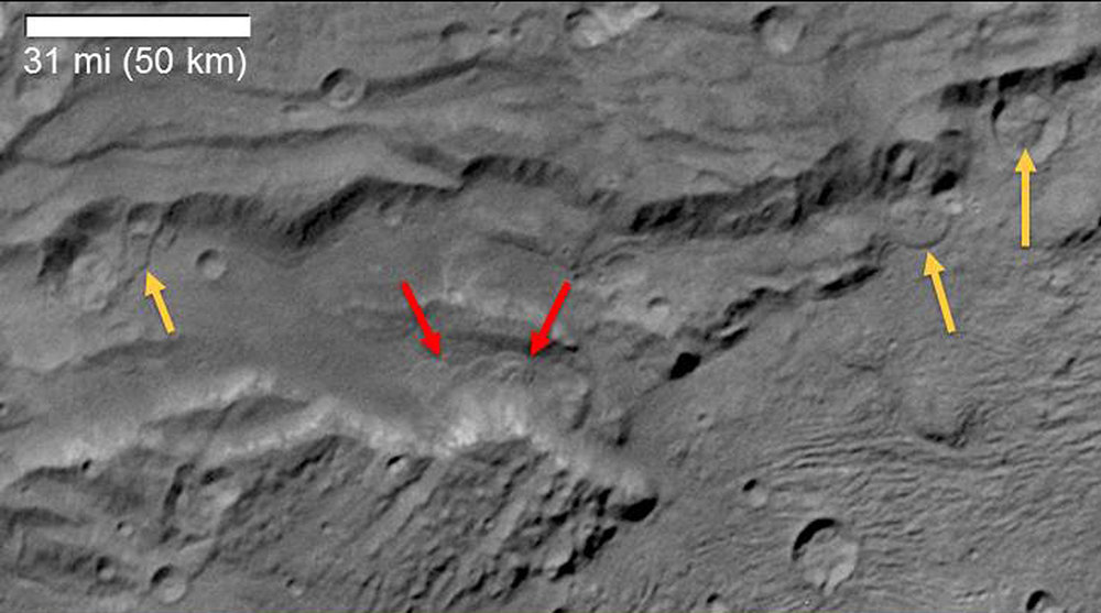 Scientists from NASA's New Horizons mission have spotted signs of long run-out landslides on Pluto's largest moon, Charon. This image of Charon's informally named Serenity Chasma was taken by New Horizons' Long Range Reconnaissance Imager (LORRI) on July 14, 2015, from a distance of 48,912 miles (78,717 kilometers). Arrows mark indications of landslide activity. – Image Credits: NASA/JHUAPL/SwRI