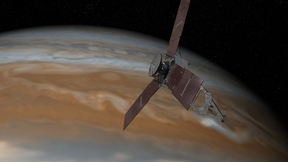 This artist's rendering shows NASA's Juno spacecraft making one of its close passes over Jupiter. – Image Credits: NASA