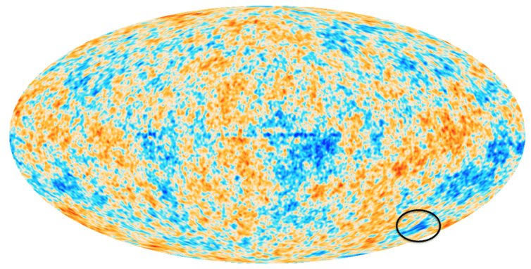 A map of the CMB temperature fluctuations over the whole sky. The unusual cold spot region is circled at the lower right.