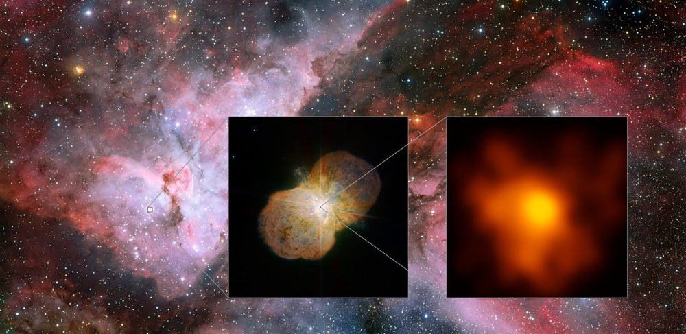 This mosaic shows the Carina Nebula (left part of the image), home of the Eta Carinae star system. This part was observed with the Wide Field Imager on the MPG/ESO 2.2-metre telescope at ESO's La Silla Observatory. The middle part shows the direct surrounding of the star system: the Homunculus Nebula, created by the ejected material from the Eta Carinae system. This image was taken with the NACO near-infrared adaptive optics instrument on ESO's Very Large Telescope. The right image shows the innermost part of the system as seen with the Very Large Telescope Interferometer (VLTI). It is the highest resolution image of Eta Carinae ever. – Image Credit: ESO/G. Weigelt