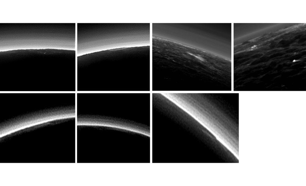 Candidates for possible clouds on Pluto, in images from the New Horizons Long Range Reconnaissance Imager and Multispectral Visible Imaging Camera, during the spacecraft's July 2015 flight through the Pluto system. – Image Credit: NASA/Johns Hopkins University Applied Physics Laboratory/Southwest Research Institute