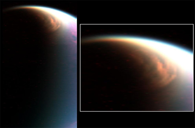 The large cloud in the stratosphere over Titan's north pole (left) is similar to Earth's polar stratospheric clouds (right). - Image Credit: L. NASA/JPL/U. of Ariz./LPGNantes; R. NASA/GSFC/M. Schoeberl