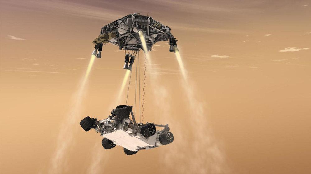Curiosity's audacious 'sky crane' manoeuvre.– Image Credit:  NASA