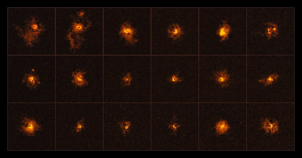 This mosaic shows 18 of the 19 quasars observed by an international team of astronomers, led by the ETH Zurich, Switzerland. Each observed quasar is surrounded by a bright gaseous halo. It is the first time that a survey of quasars shows such bright halos around all of the observed quasars. - The discovery was made using the MUSE instrument at ESO's Very Large Telescope. – Image Credit: ESO/Borisova et al.