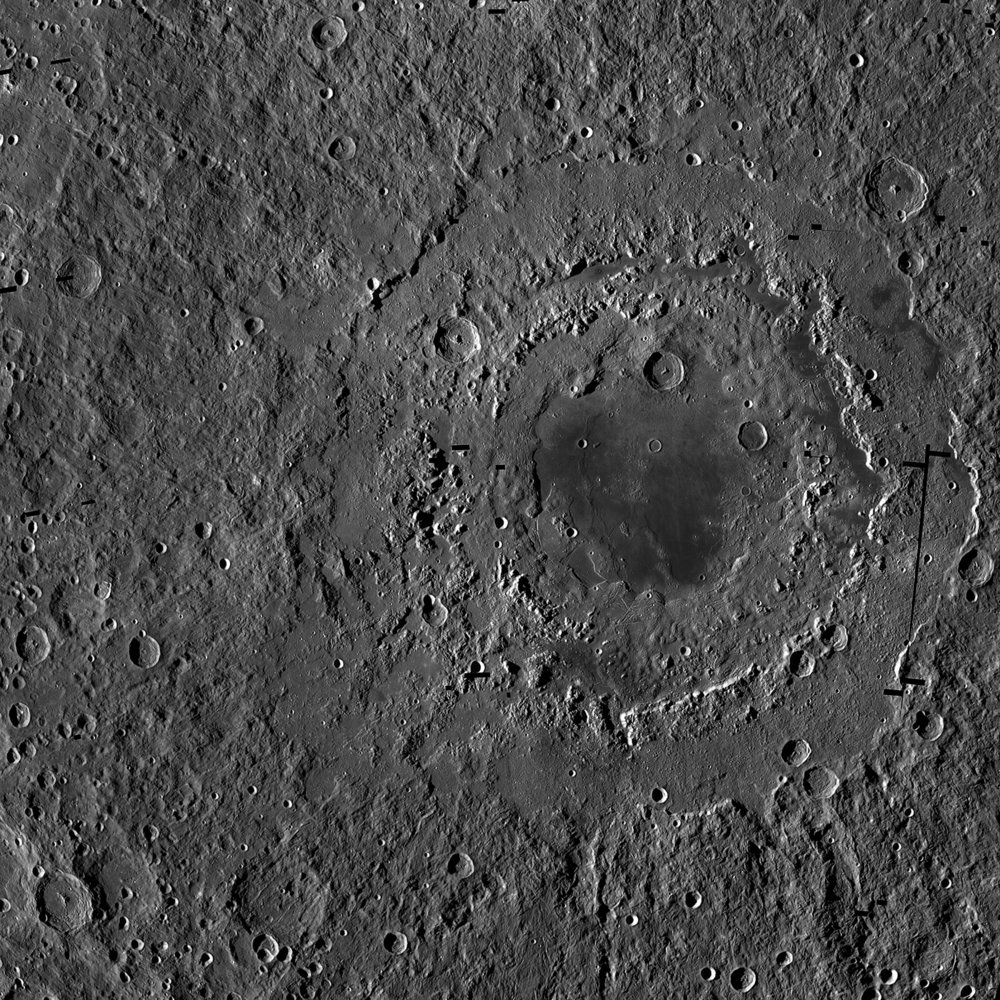 Orientale basin is about 580 miles (930 kilometers) wide and has three distinct rings, which form a bullseye-like pattern. This view is a mosaic of images from NASA's Lunar Reconnaissance Orbiter. – Image Credits: NASA/GSFC/Arizona State University