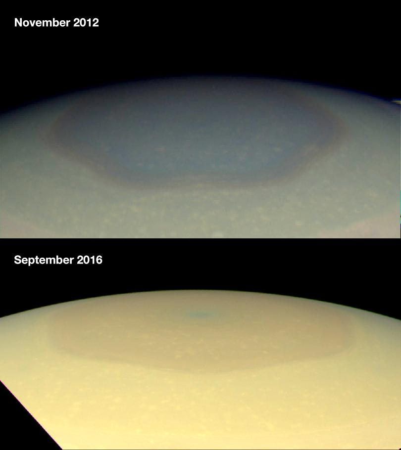 Natural color images taken by NASA's Cassini wide-angle camera, showing the changing appearance of Saturn's north polar region between 2012 and 2016.. - Image Credit: NASA/JPL-Caltech/Space Science Institute/Hampton University
