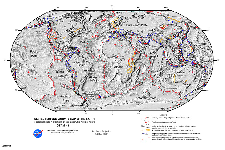 """The """"Global Tectonic and Volcanic Activity of the Last One Million Years"""" map. - Image Credit: NASA/DTAM"""