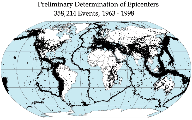 Global earthquake epicenters, 1963–1998. – Image Credit: NASA/DTAM