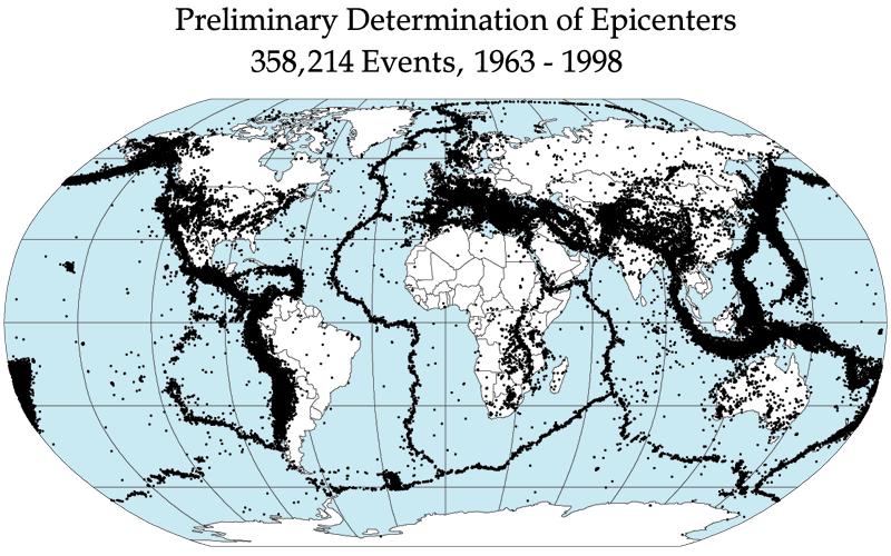 Global earthquake epicenters, 1963–1998. – Image Credit: NASA/DTAM