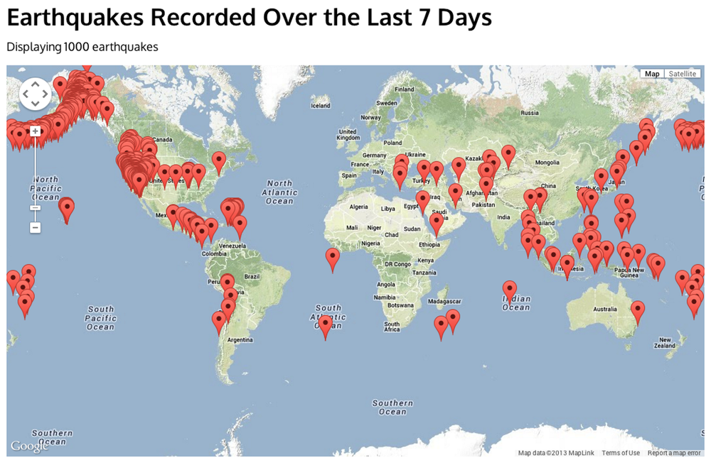 Map of earthquakes around the world in a seven day period. - Image Credit: USGS / Google Maps / AJAX / SODA