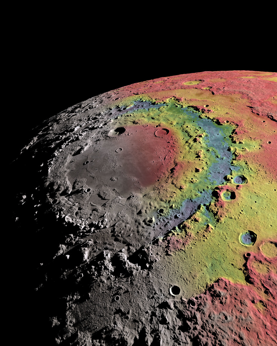 The moon's Orientale impact basin, with rings. Red corresponds to 'hills' and blue to 'valleys'. – Image Credit: Ernest Wright, NASA/GSFC Scientific Visualization Studio.)