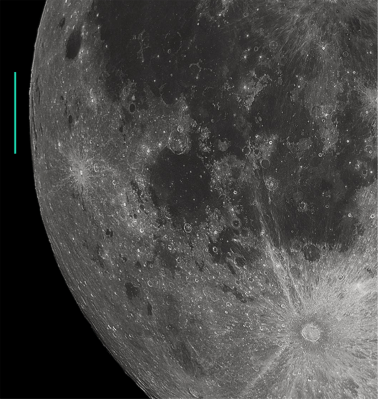 Mare Orientale location marked in cropped image of full moon. - Image Credit: Gregory H. Revera photographer, cropped and marked by User:Thincat,  CC BY-SA
