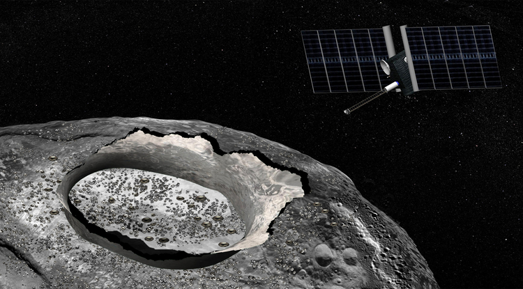 An artist's concept of the Psyche spacecraft, a proposed mission for NASA's Discovery program that would explore the huge metal Psyche asteroid from orbit. - Image Credit: NASA/JPL-Caltech.