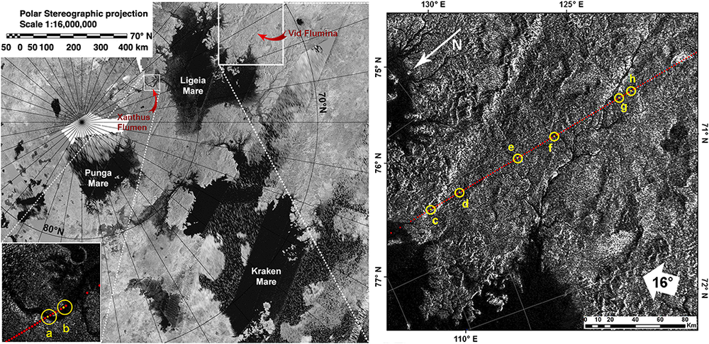 Cassini image of the northern polar area of Titan and Vid Flumina drainage basin, showing Ligeia Mare (left) and the Vid Flumina drainage basin (right). – Image Credit: R.L. Kirk/NASA/JPL
